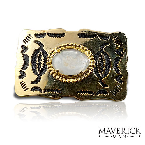 Gold belt buckle with hand painted pearl stone
