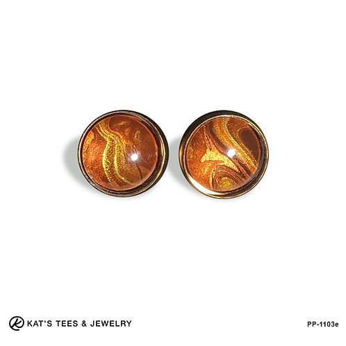 Stunning tiger eye earthtone stainless steel studs