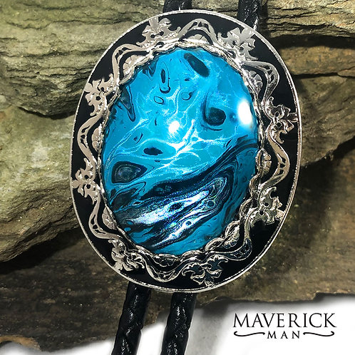 Ornate bolo with hand painted turquoise and black stone