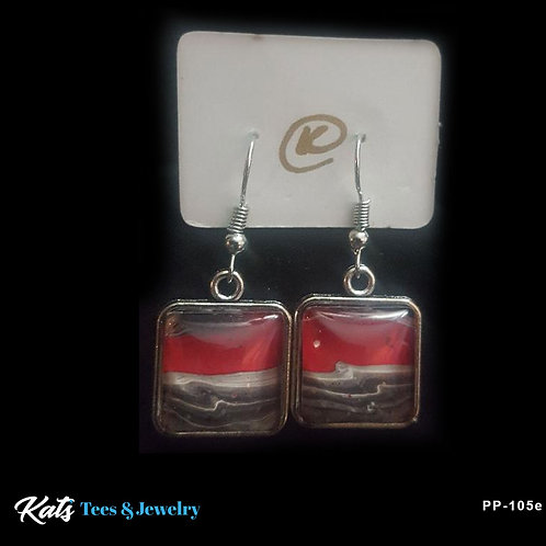 Poured Painting square earrings - crimson black and white