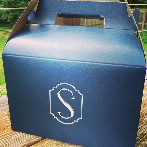 Wedding favor boxes that we screen print