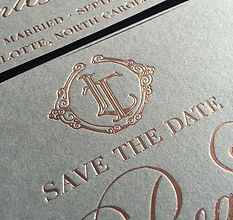 Beautiful illustrated monogram foil deta