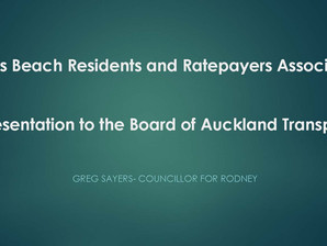 Councillor Greg Sayers' presentation to Auckland Transport Board