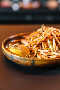 Potato Matchstick with Bee Pollen Aioli and Honey
