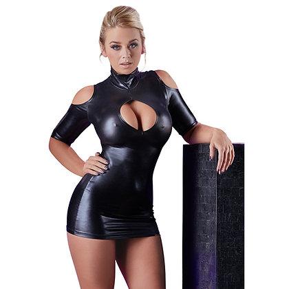 Cold Shoulder Wetlook Mini Jurkje – Zwart