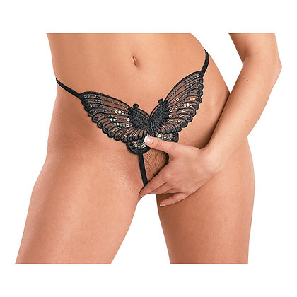 Butterfly String Zwart S-L