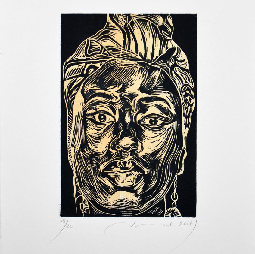 22.5x15cm, portrait3, woodcut, 2018