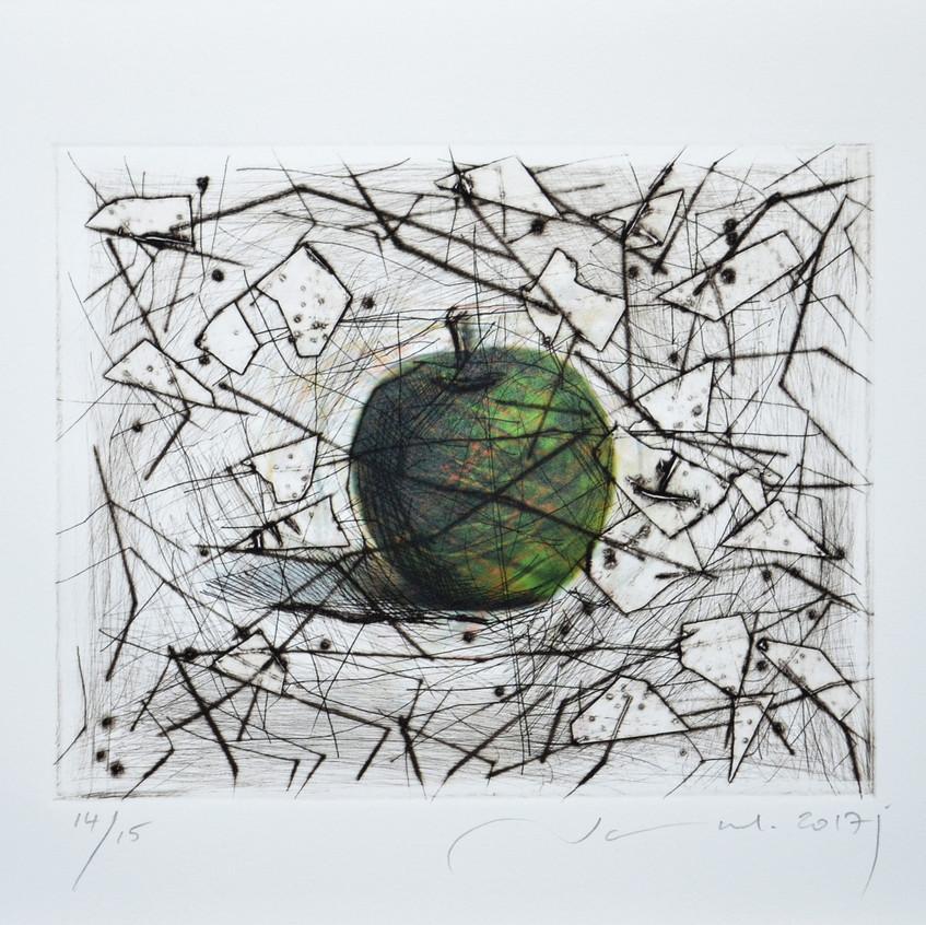 Green apple, Print 19.5x24.5 on paper 28.5x38 cm,2017