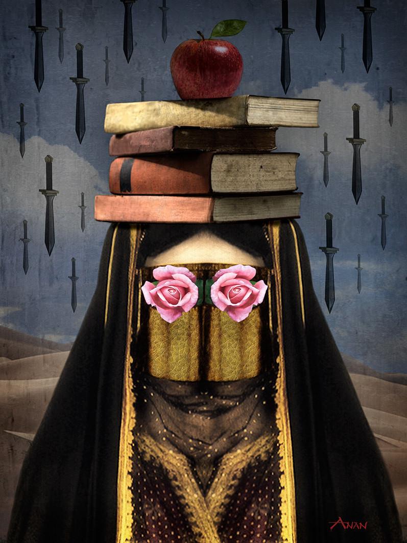 اللوحة من أعمال الفنان السعودي عنان العليان