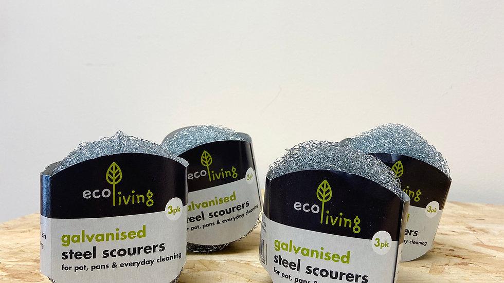 Ecoliving Steel Scourers - 3 Pack