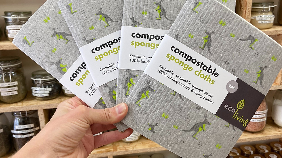 Ecoliving Compostable Sponge Cloth Twin Pack
