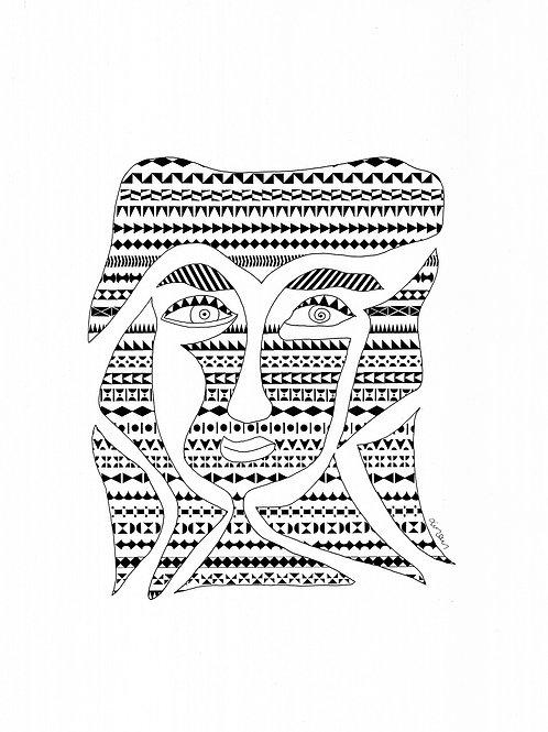 Πρόσωπο με Πυργούσικα μοτίβα - Face with local (Pyrgusika) patterns