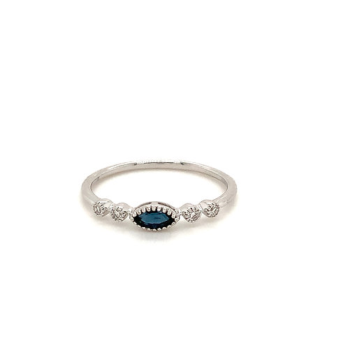 Marquise Sapphire and Diamond ring in 14k white gold