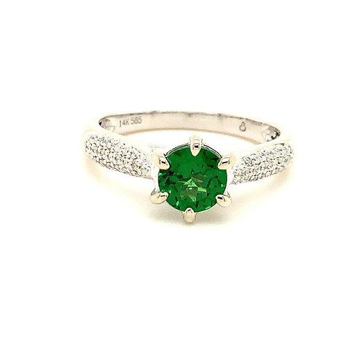 Tsavorite Garnet and Diamond ring