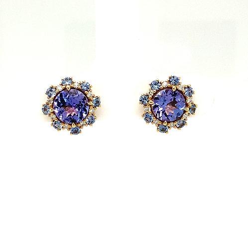 Tanzanite and white sapphire earrings