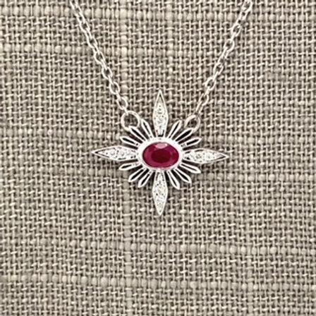 Ruby and Diamond Starburst Necklace