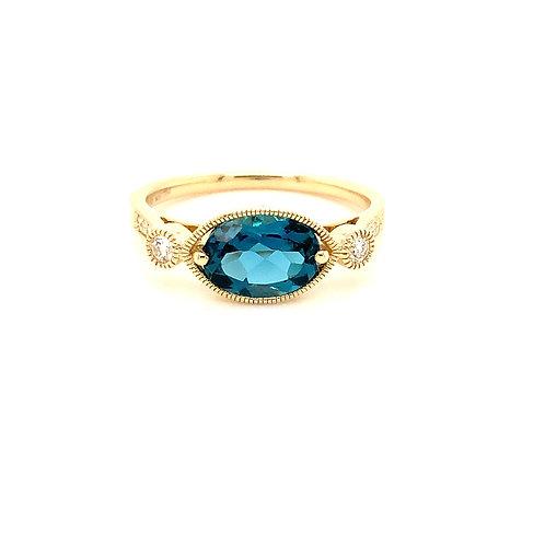 Oval London Blue Topaz and Diamond ring