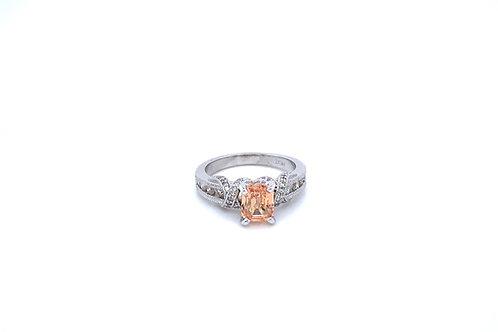 Natural Peach Sapphire and Diamond Ring