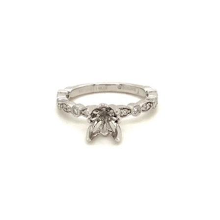 Scalloped Diamond Semi Mount Engagement Ring