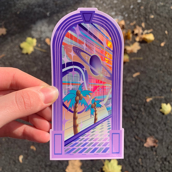 """Holographic """"Door to Elsewhere"""" Sticker - Single"""