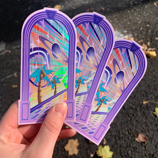 """Holographic """"Door to Elsewhere"""" Sticker - 3 Pack"""