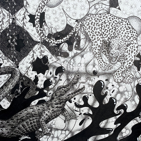 """Blending In Black and White"" Original Drawing"