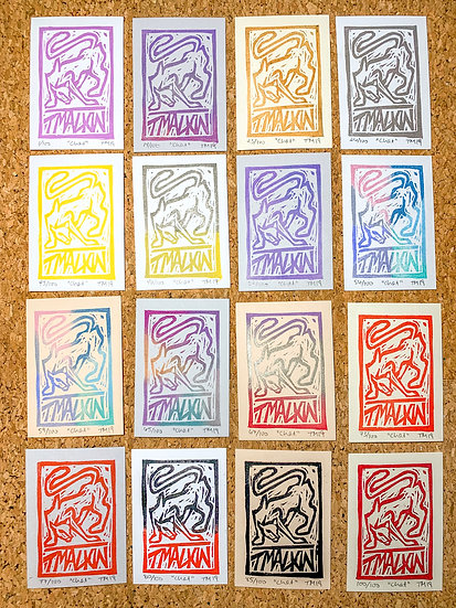 """""""Chat"""" Original Linocut Print"""