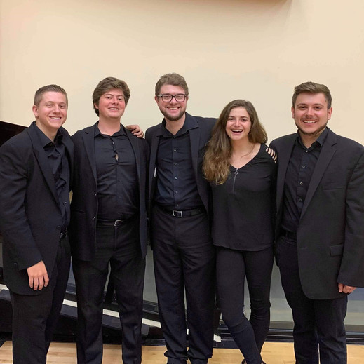 David Puchkoff, Nicholas Hogg, Tanner Jackson, Lauren Anker, and Wyeth Aleksei after performing in the American Brass Quintet student recital concert