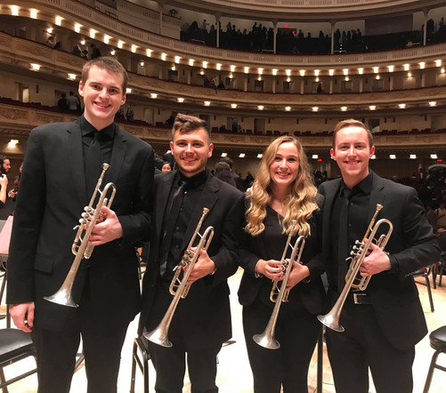 Juilliard trumpet section for a performance of Shostakovich's Symphony No. 5 with Marin Alsop at Carnegie Hall