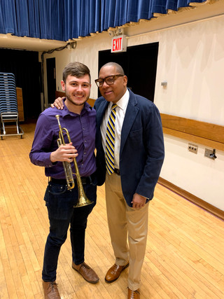 Wyeth Aleksei with Wynton Marsalis after performing in his masterclass combined with Juilliard classical and jazz trumpet studios.