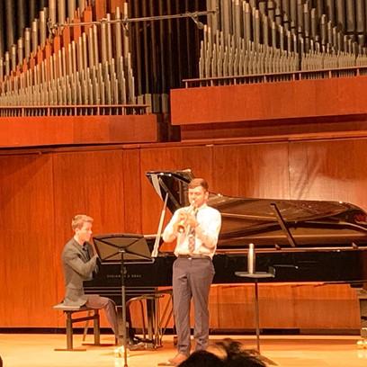 Wyeth Aleksei and Ben Keating performing at Wyeth's graduation recital at Juilliard