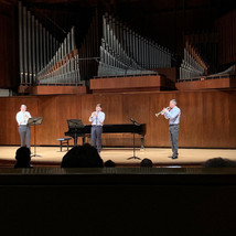 David Krauss, Christopher Martin, and Wyeth Aleksei performing Benjamin Britten's Fanfare from St. Edmundsbury on Wyeth Aleksei's Juilliard graduation recital