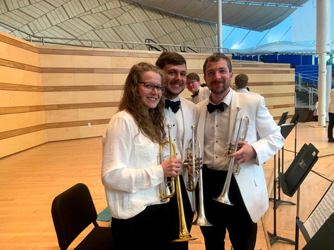 Andrea Braun, Wyeth Aleksei, and Doug Amos after a concert  with the Aspen Conducting Academy Orchestra