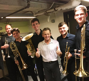AES V with Mikhail Baryshnikov after the performance of Leonard Berstein's brass quintet Dance Suite. (L-R:) Clinton McLendon, Marco Gomez, David Alexander, Mikhail Baryshnikov, Wyeth Aleksei, Stephen Whimple