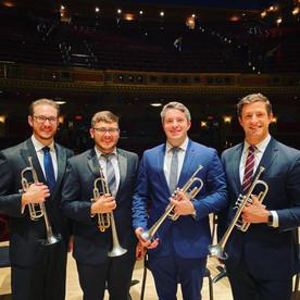 Justin Rowan, Wyeth Aleksei, Sam Huss, and Aaron Lovelady after a Richmond Symphony Orchestra concert