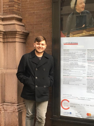 Wyeth Aleksei outside Carnegie Hall for a performance with the Juilliard Orchestra