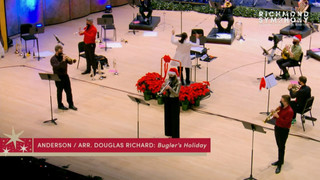 Sam Huss, Mary Elizabeth Bowden, and Wyeth Aleksei performing Leroy Anderson's Bugler's Holiday at Richmond Symphony Orchestra's holiday brass concert
