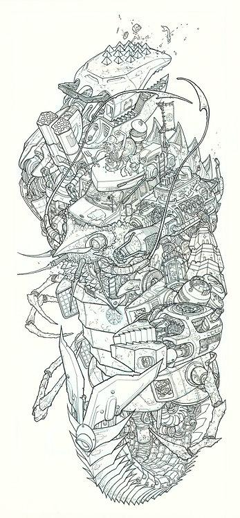Kimbel's Creation ('Raw' Pen & Ink line-work scan) Giclée Print