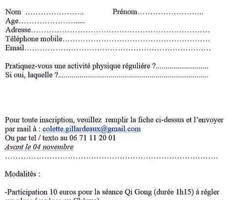 Séance de qi gong le 08 novembre 2021