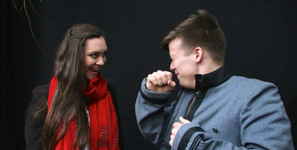 A Mid-Summer Nights Dream -Back Stage - Hermia (Fiona Pirie) & Demetrius (Nick James) get along better off stage