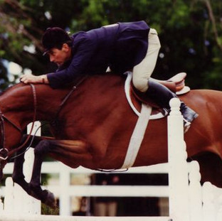 Calvin When CB purchased him he had a difficult lead change. Carleton didn't ride him until the horse show and went to the back ring and jumped off a bank, kicked him for a lead change. By teaching him to change his balance in the air via the bank jump, he was able to carry that over to changing leads across the ground. He didn't have a problem after that. He was also a Thoroughbred and an overachiever. @ Cathrin Cammett