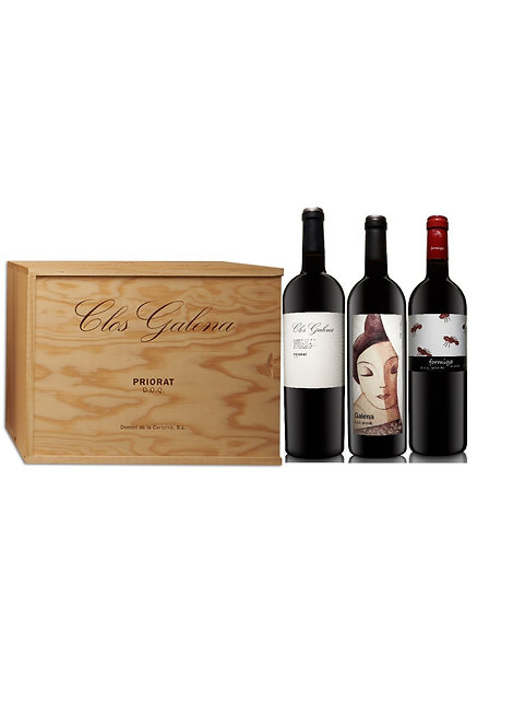 Caja madera 6 botellas Vinos Clos Galena