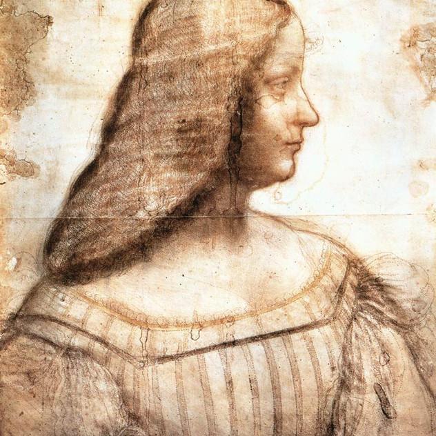 Disegno incompleto di Isabella d'Este lasciato da Leonardo