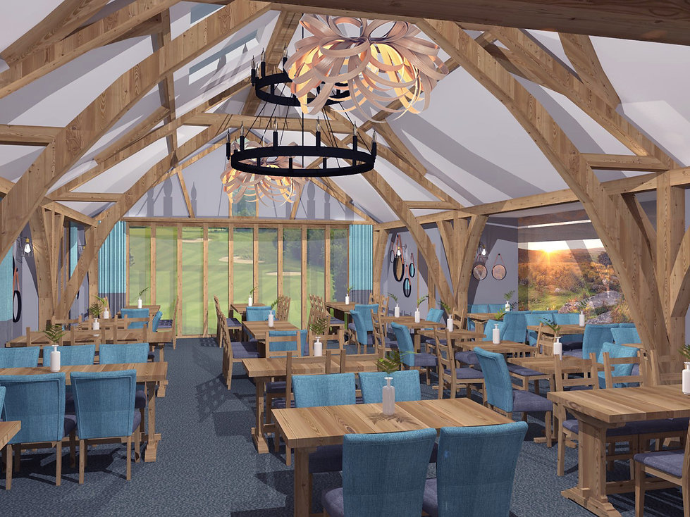 3D visual render of golf clubhouse