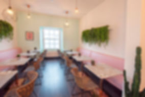 restaurant banquette seating with biophillic design