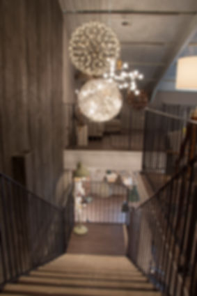 Amos Lighting + Home staircase and timber feature wall