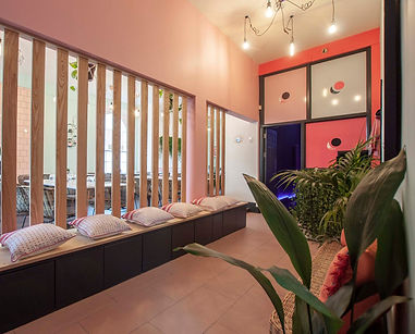 Pink Moon entrance hall with timber screen