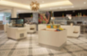 Barkers Kitchen servery area with decorative porcelain tile floor