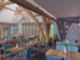 3D visualisation of restaurant with blue upholstered chairs and oak beams