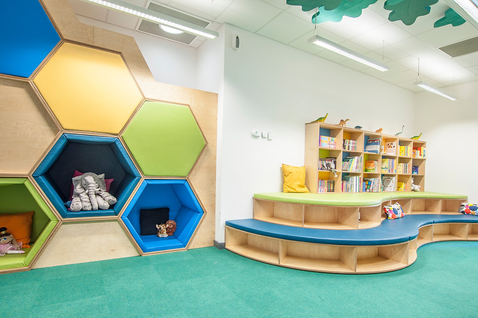 Trinity Primary School library with hexagonal seating pods